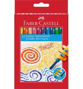 Faber-Castell - Wax crayon twistable, cardboard wallet of 12