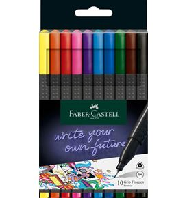 Faber-Castell - Fibre tip pen Grip Finepen 0.4 plastic case of 10