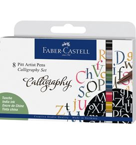 Faber-Castell - Pitt Artist Pen Calligraphy India ink pen, set of 8