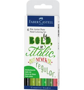 Faber-Castell - Pitt Artist Pen India ink pen, set of 6 Lettering, Green